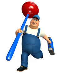 plumber with toilet plunger & tool box