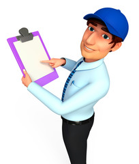 Service man with notepad