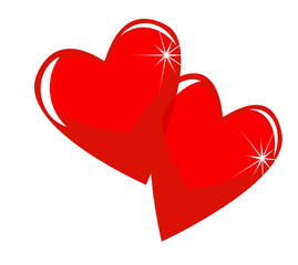 two bright red hearts on a white background