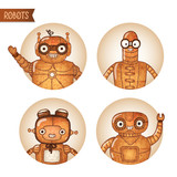 Steampunk robots iconset