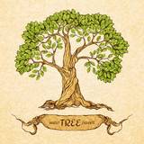 Green tree with place for text
