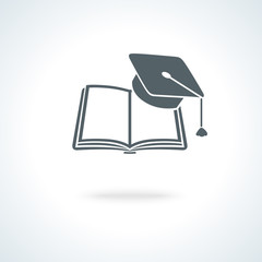 Open book with square academic cap