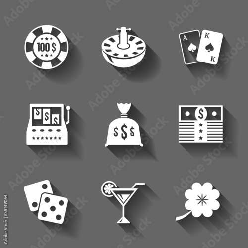Gambling icons set isolated, contrast shadows