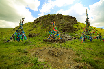 Shaman Adak Tree, prayer's flag, Mongolia