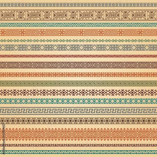 Border decoration elements patterns in different colors.