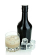 Baileys liqueur in bottle and glass isolated on white
