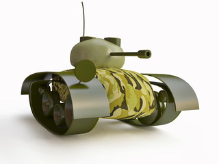 Toy Tank with Camouflage in 3d