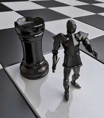 Black Knight with Chess Castle (rook) Figure in 3D