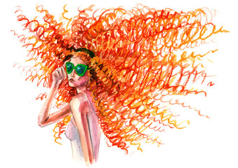 red curly woman in glasses