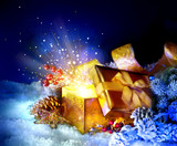 Fototapety Christmas Gift Box with miracle. Magic Stars and Light