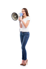 An attractive Caucasian woman screaming on the megaphone