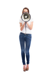 A an attractive Caucasian woman screaming on the megaphone