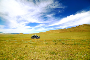 Car going beautiful mongolian offroad