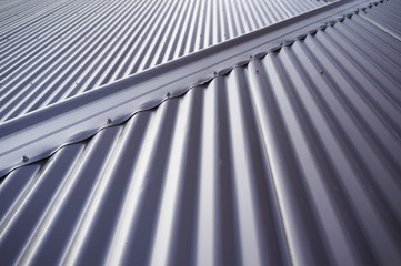 Metal colourbond roof in blue-gray colour.