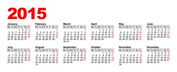 European Calendar 2015 - horizontal