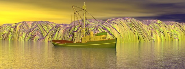 boat and iceberg