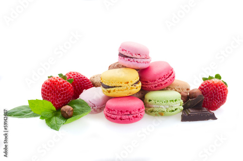 heap of macaroons with ingredients