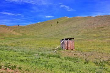 Mongolian wooden squat toilet