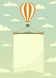 Hot air balloon with banner. Vector illustration. - 59143025