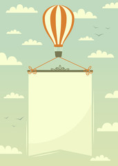 Hot air balloon with banner. Vector illustration.