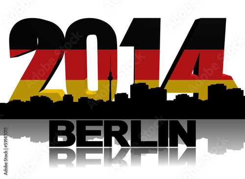 Berlin skyline with 2014 flag text illustration
