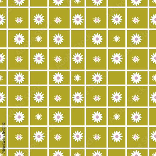 Foto op Plexiglas Op straat Checkered seamless pattern with flowers