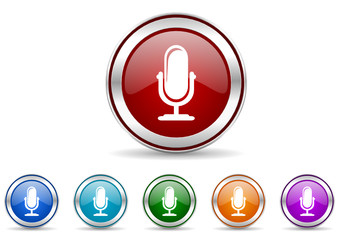 microphone icon vector set