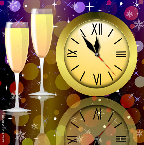 round clock and two glasses with champagne