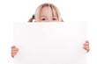 canvas print picture - Blondes Kind schaut über Werbeschild