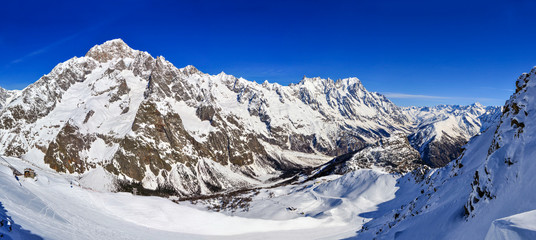 Panorama of Mont Blanc de Courmayeur, Val Veny, and Youla slope