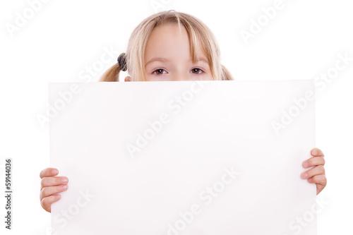 canvas print picture Blondes Kind schaut über Werbeschild