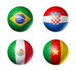 Brazil world cup 2014 group A flags on soccer balls