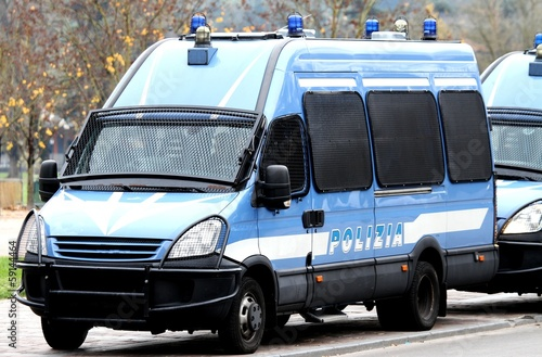 Armored police van transporting money