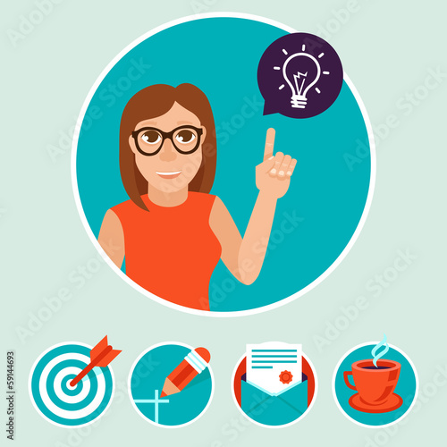 Vector woman character with sign and symbols