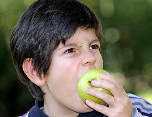 hungry child bite with voracity a ripe apple