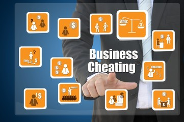 Businessman with business cheating icon concept