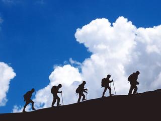 climbing a mountain.