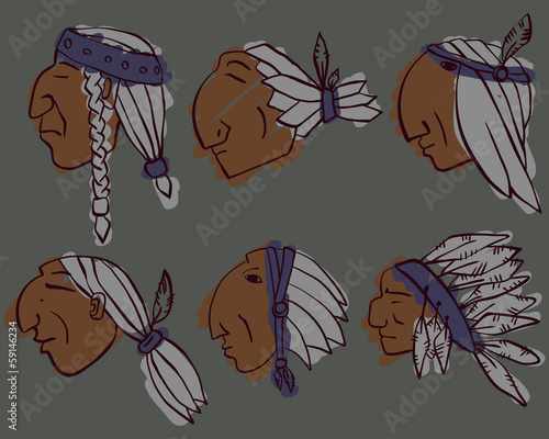 Set of 6 red Indian coloured heads.