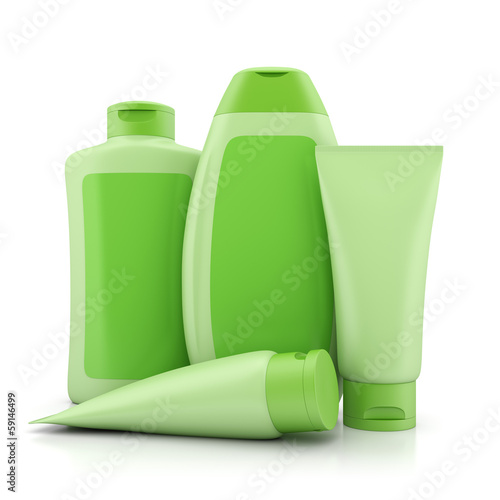 Group of green bio cosmetics containers