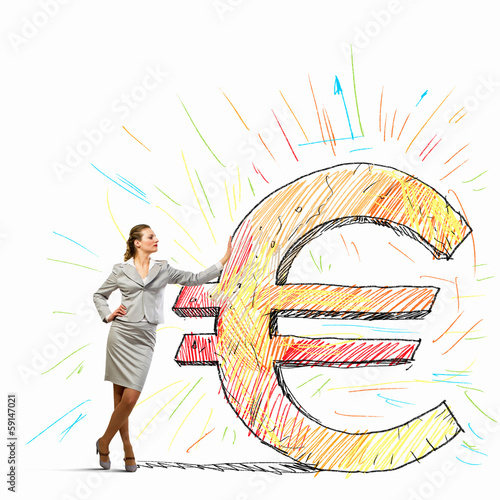 Businesswoman leaning on euro sign