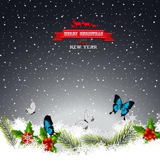 Christmas greeting card with butterfly and pine leaf in the snow