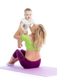 mother with baby doing gymnastics