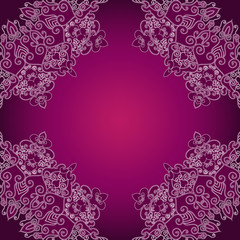 Abstract lace decoration , round shape, vector frame