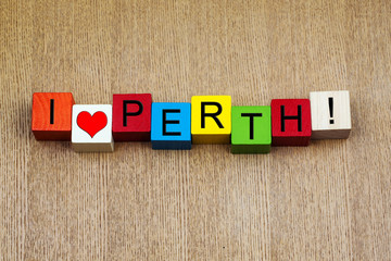 I Love Perth, Australia - sign series for cities & travel