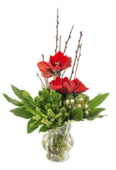 glass vase with red amaryllis