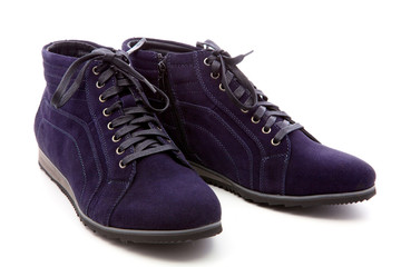 dark blue boots on a white background