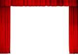 theater or cinema red curtain frame isolated on white
