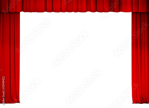 Aluminium Theater theater or cinema red curtain frame isolated on white