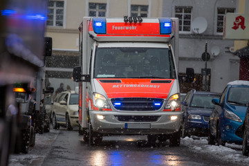 German ambulance car on a snowy day