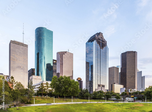 Aluminium Texas skyline of houston in the evening